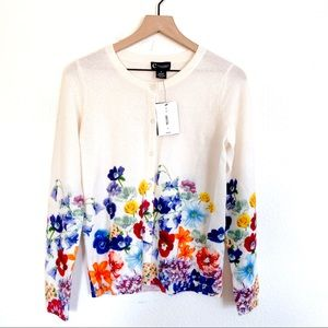 C By Bloomingdales 100% cashmere floral cardigan